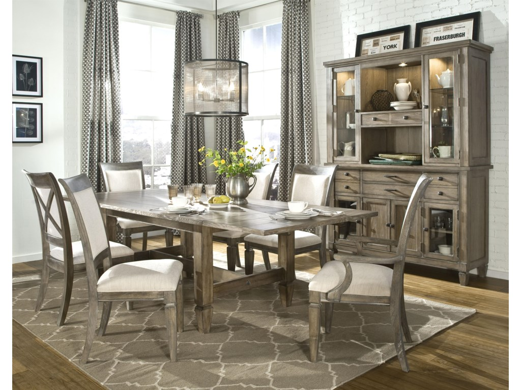 Shown with Upholstered Arm Chair, Trestle Dining Table and Credenza with Hutch