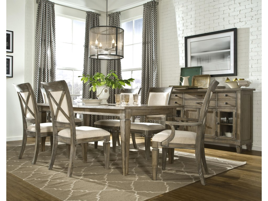 Shown with Leg Dining Table, Upholstered Back Side Chair and Credenza