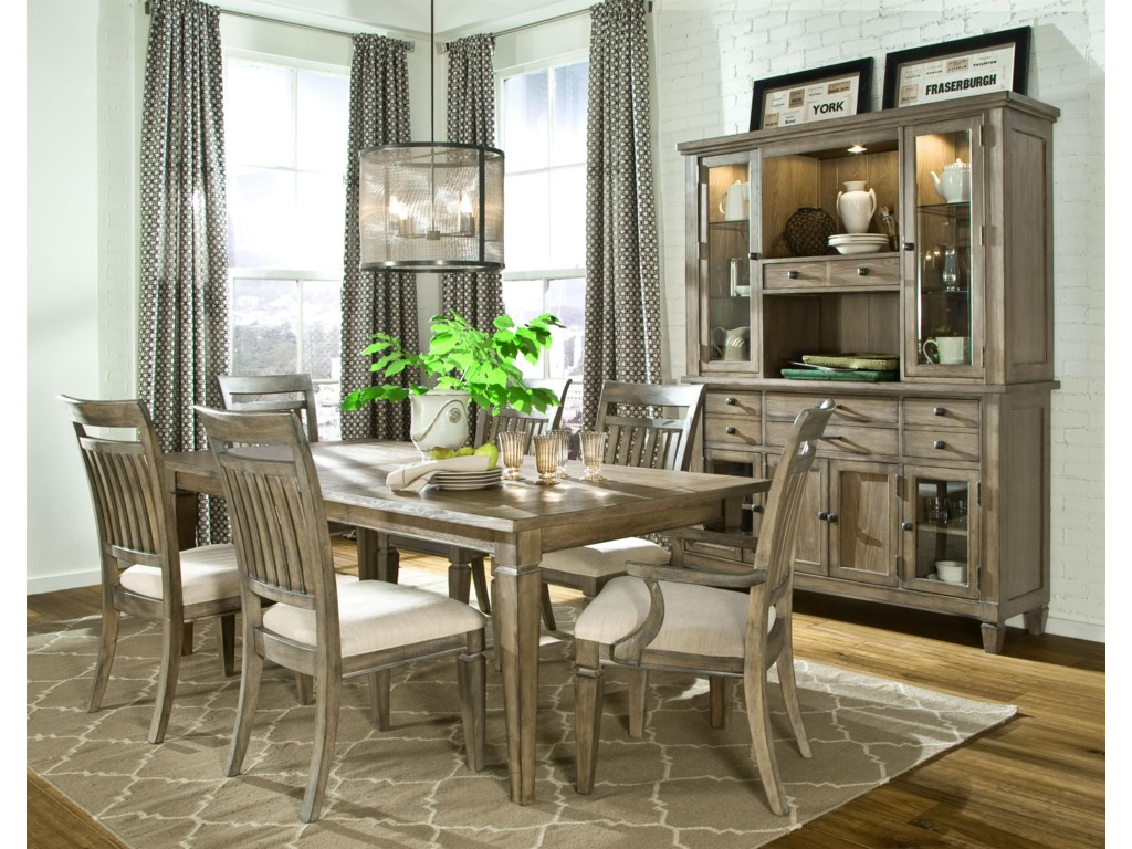 Shown with Leg Dining Table, Slat Back Side Chair, Credenza and Hutch