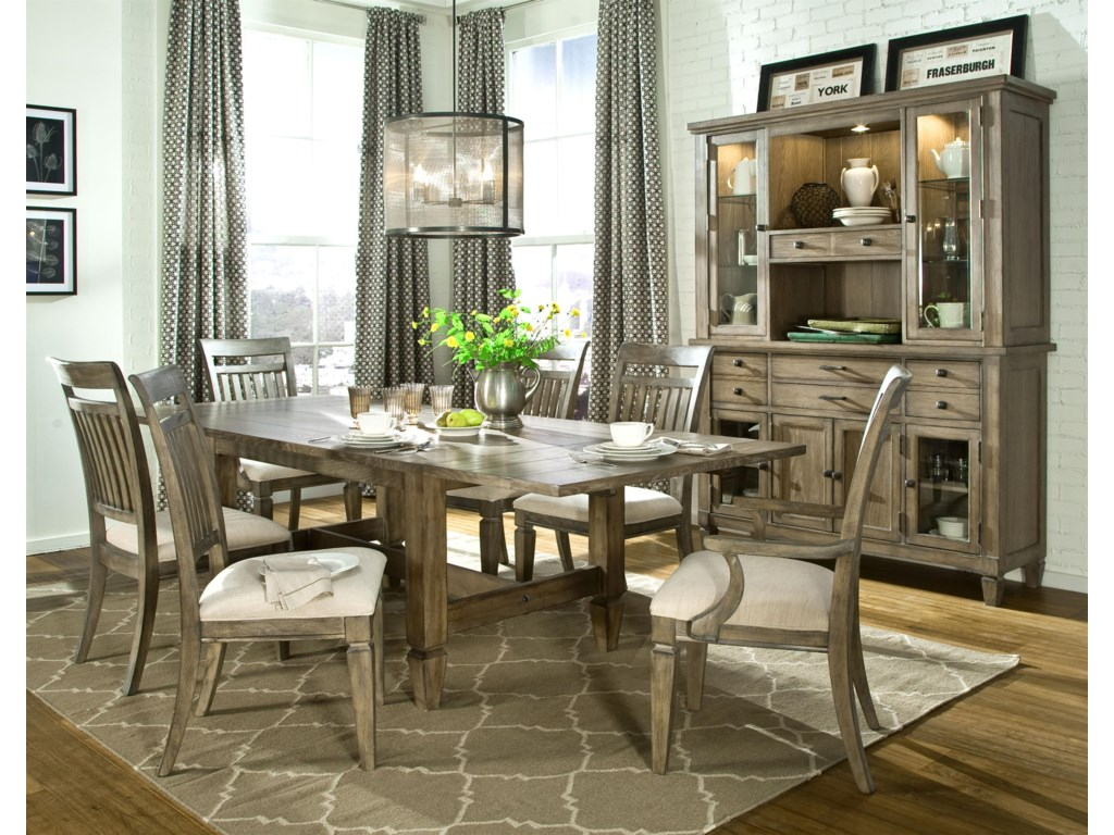 Shown with Trestle Dining Table, Slat Back Side Chair, Credenza and Hutch