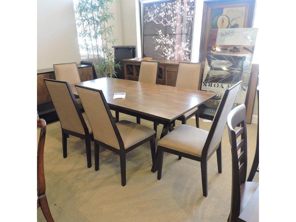 Legacy Classic ClearanceTrestle Table w/ 6 chairs