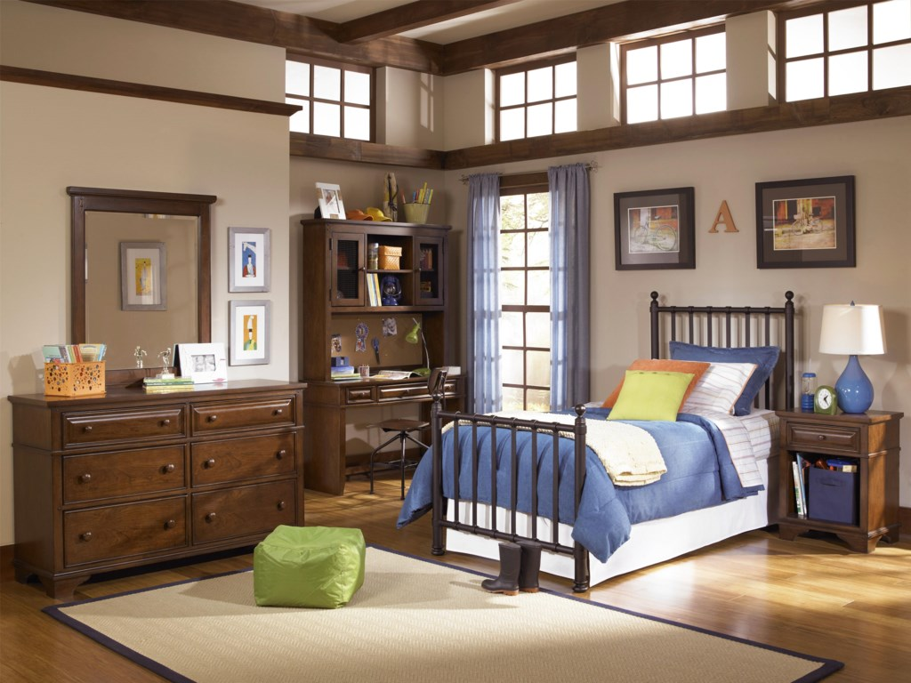 Shown with Desk & Hutch, Chair, Metal Bed and Nightstand