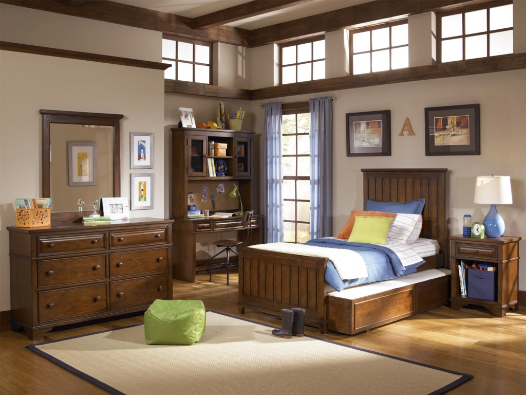 Shown with Dresser, Mirror, Chair, Panel Bed, Trundle Drawer and Nightstand