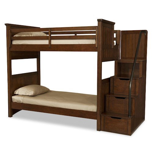 Legacy Classic Kids Dawsons Ridge Twin-over-Twin Bunk Bed with Stair & Handrail Storage Pedestal