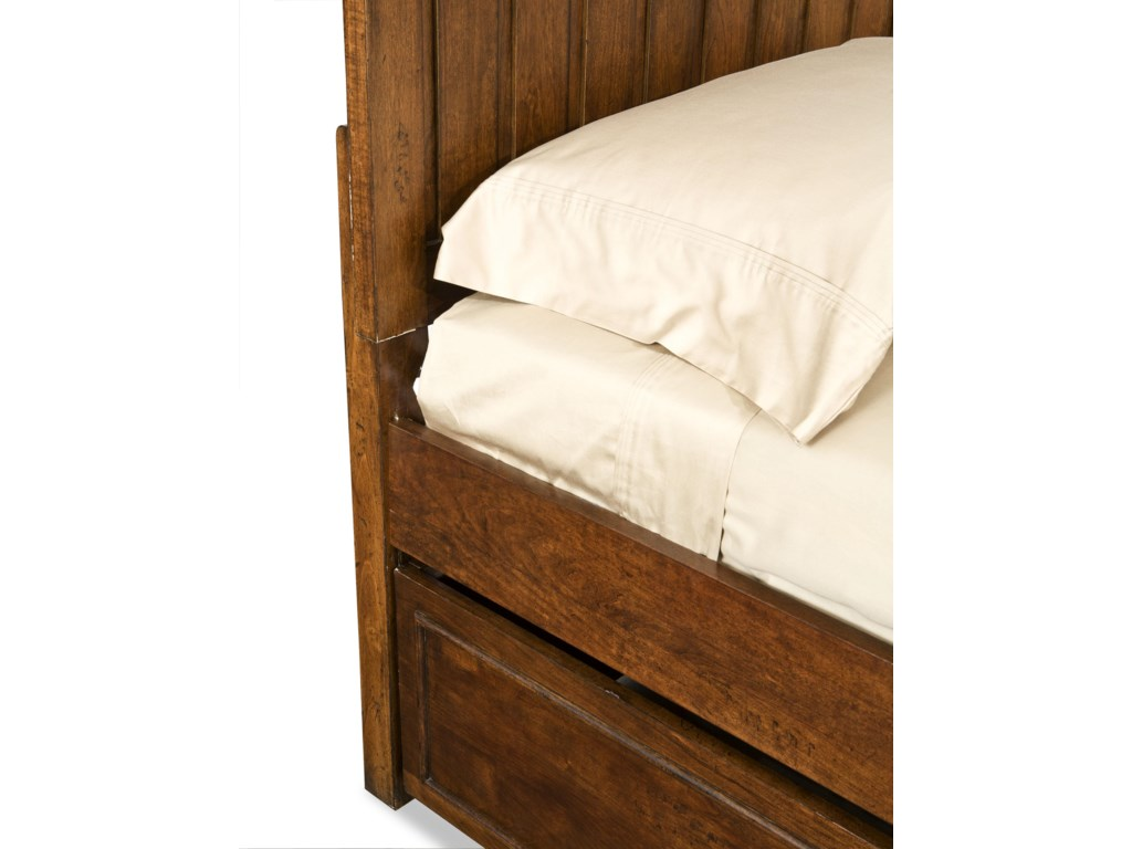 Bottom Bunk Rails Shown In High Locking Position to Accommodate Trundle Drawer (Sold Separately)
