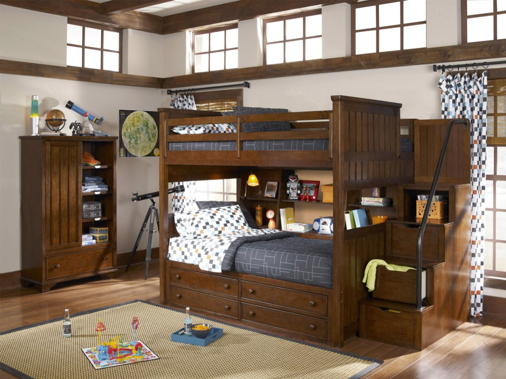 Shown with Bookcase Locker, Full-over-Twin Bunk, Bunk Bookcase Unit and Stair & Handrail Storage Pedestal