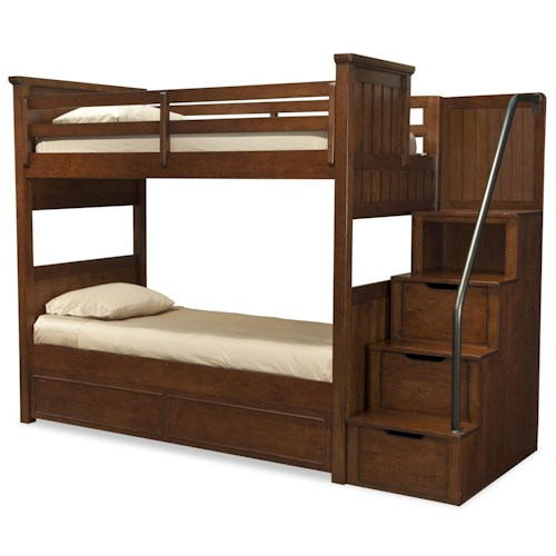 Legacy Classic Kids Dawson's Ridge Full-over-Full Bunk with Stair and Handrail Storage Pedestal