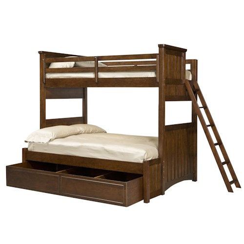 Legacy Classic Kids Dawsons Ridge Twin-over-Full Bunk Bed with Trundle Drawer and Ladder