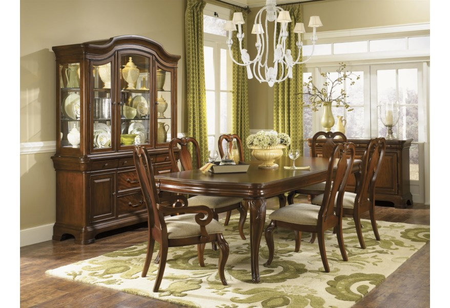 Legacy Classic Evolution Seven Piece Dining Set With Queen Anne Chairs Johnny Janosik Dining 7 Or More Piece Sets