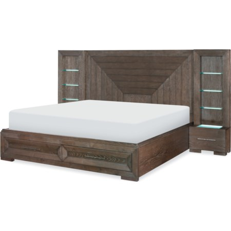 Queen Wall Panel Bed w/ Storage Footboard