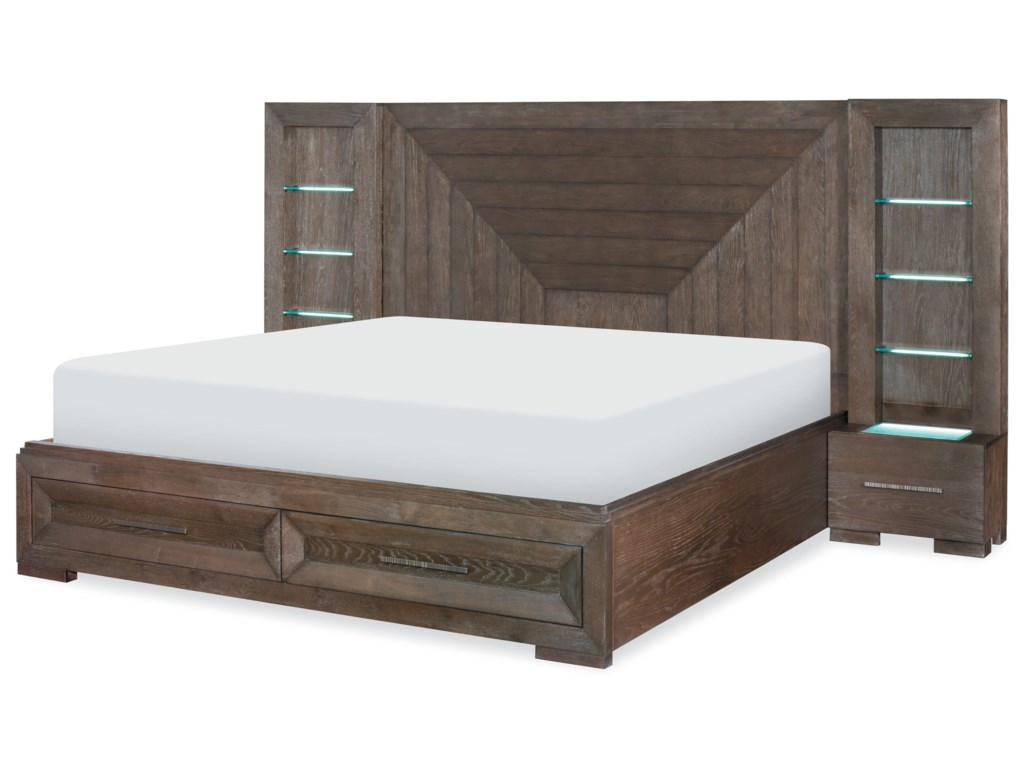 Legacy Classic FacetsQueen Wall Panel Bed w/ Storage Footboard