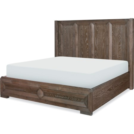 Queen Shelter Bed w/ Storage Footboard