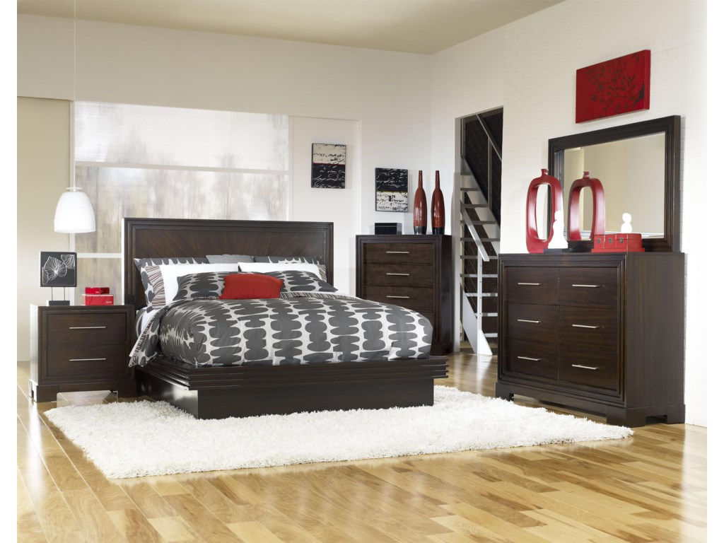 Shown as Component of Complete Platform Bed (Headboard Shown May Not Represent Size Indicated) with Nightstand, Drawer Chest, Dresser and Mirror