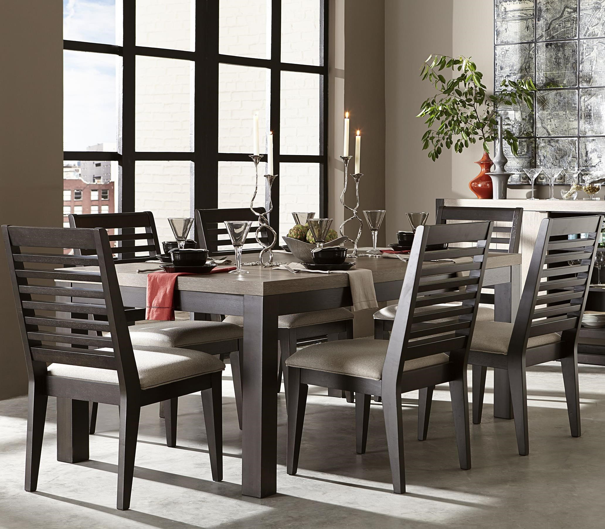 legacy classic helix 7 piece dining set with slat back side chairs dunk u0026 bright furniture dining 7 or more piece set