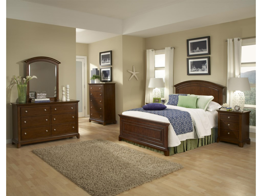 Shown as Component of Complete Arched Panel Bed Frame, with Nightstand, Drawer Chest, Dresser and Dresser Mirror