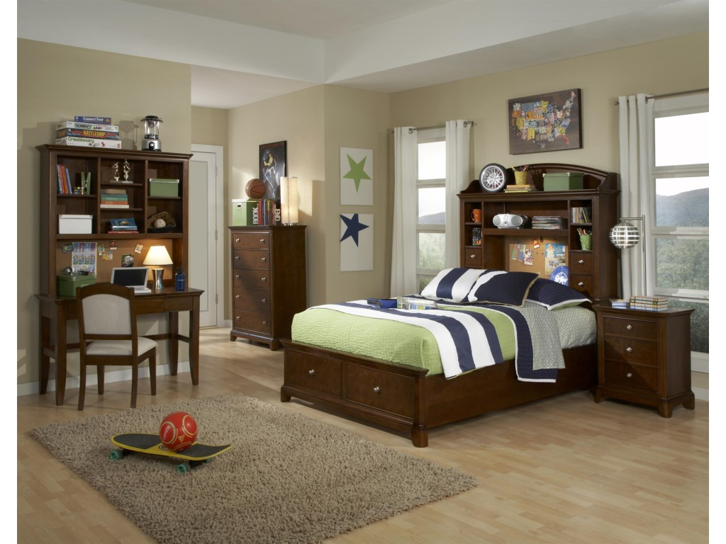 Bed Shown with Nightstand, Drawer Chest, Desk, Hutch and Desk Chair
