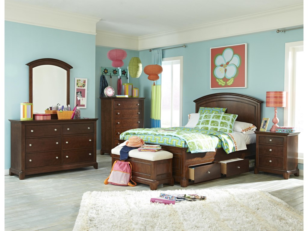 Shown with Arched Panel Bed, Nightstand, Drawer Chest, Bench, Dresser and Dresser Mirror