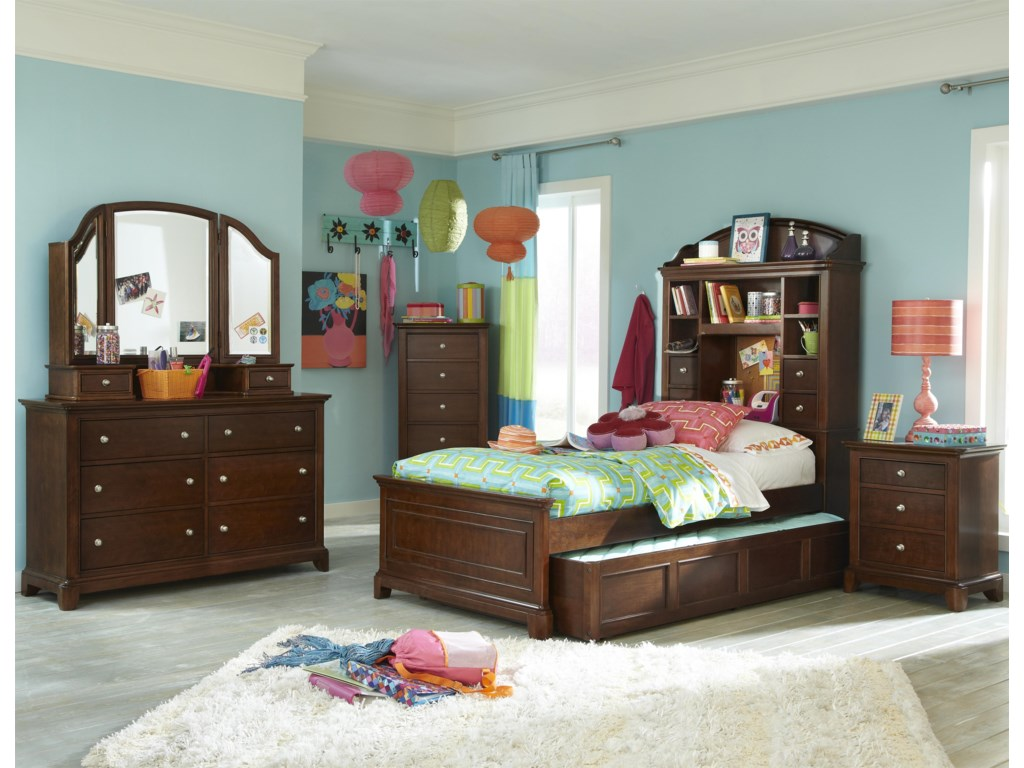 Trundle Drawer Shown with Bookcase Bed, Nightstand, Corner Chest, Dresser and 3-Panel Vanity Mirror