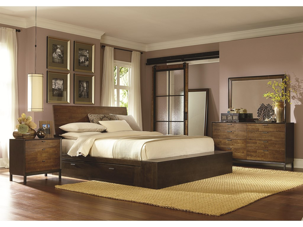 Legacy Classic KateriCal. King Platform Bed w/ Two Storage Drawer