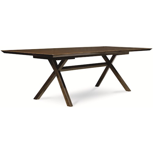 Legacy Classic Kateri Rectangular Table with Trestle Bottom in Hazelnut Finish with Extension Leaf