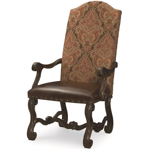 Legacy Classic La Bella Vita Upholstered Back Arm Chair with Scroll Legs