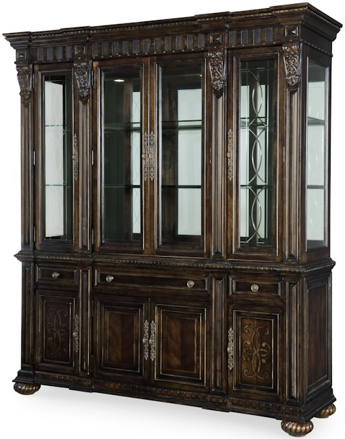 Legacy Classic La Bella Vita China Cabinet with Touch Lighting and Dentil Molding