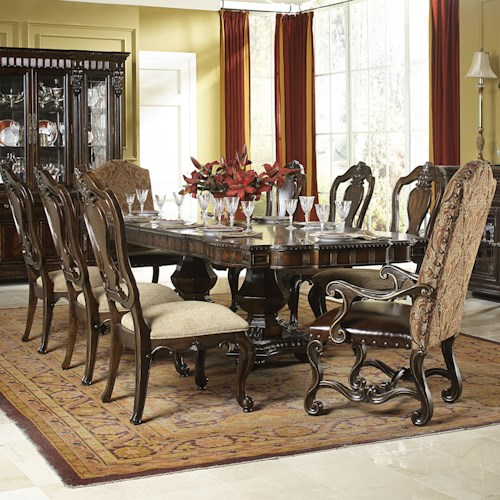 Legacy Classic La Bella Vita 9 Piece Dining Set with Upholstered Host Chairs