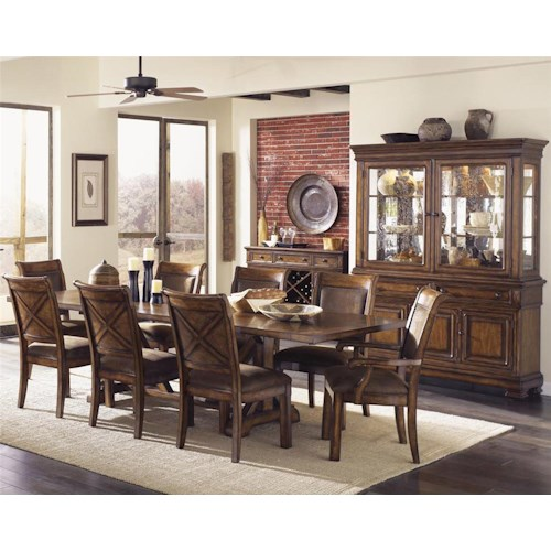 Legacy Classic Larkspur Trestle Table & Upholstered Chair Set