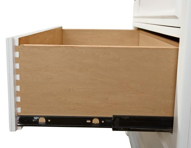 Dovetail Drawer Construction and Side Mounted, Ball-Bearing Metal Suspension Guides