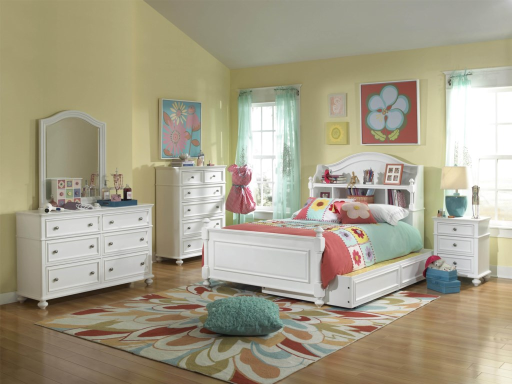 Shown with Bookcase Bed, Trundle Drawer, Nightstand, Chest of Drawers, Dresser and Arched Mirror