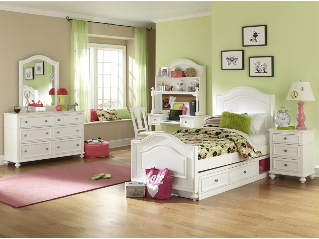 Shown with Hutch, Desk Chair, Dresser, Arched Mirror, Panel Bed with Underbed Storage Unit and Nightstand