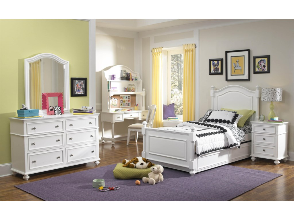 Shown with Dresser, Arched Mirror, Desk and Hutch, Low Post Bed with Trundle Drawer and Nightstand