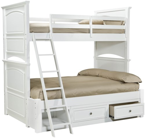 Legacy Classic Kids Madison Classic Twin-over-Full Size Bunk Bed with Underbed Storage Unit