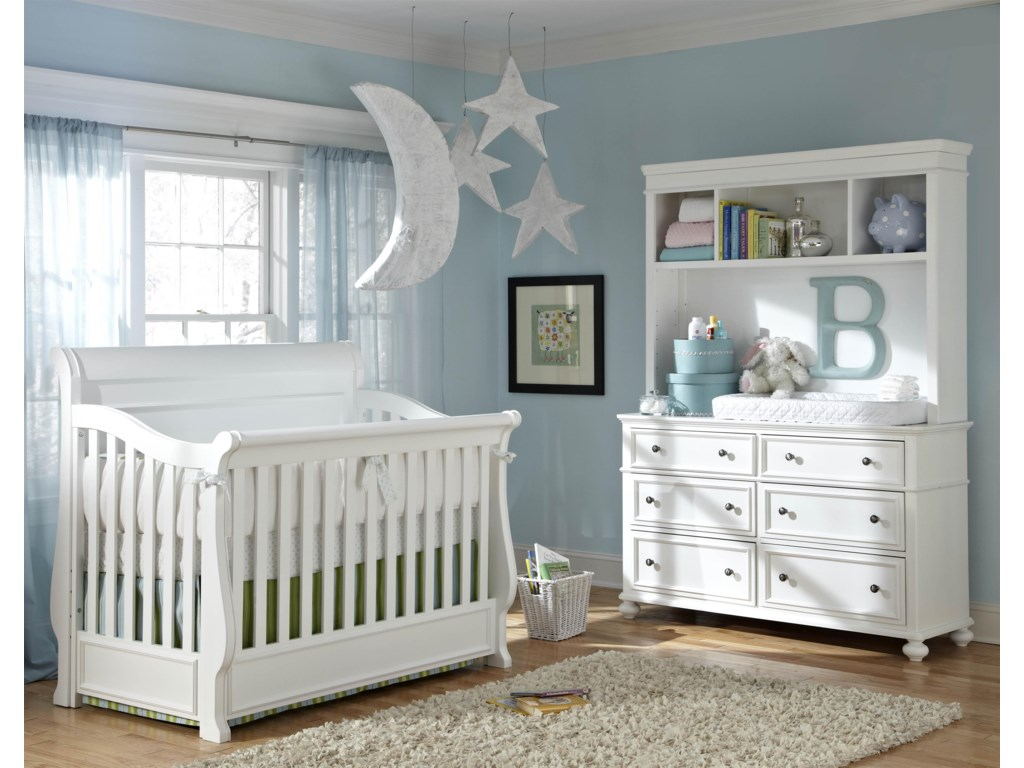 Shown as Crib with Changing Station and Bookcase Hutch