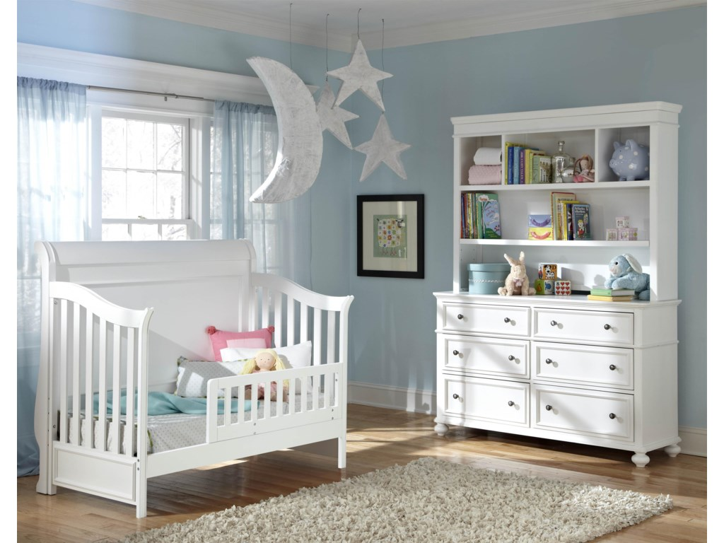 Shown as Toddler Bed with Changing Station and Bookcase Hutch