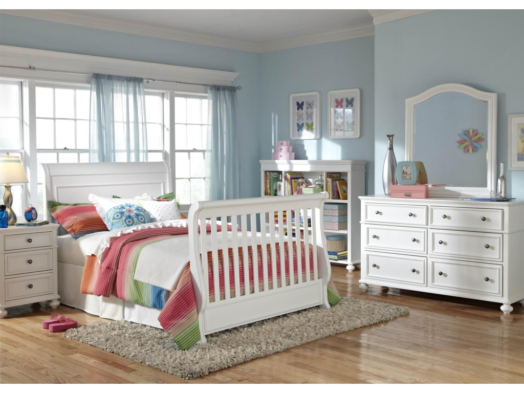 Shown as Full Size Bed with Dresser, Arched Mirror, Bookcase and Nightstand