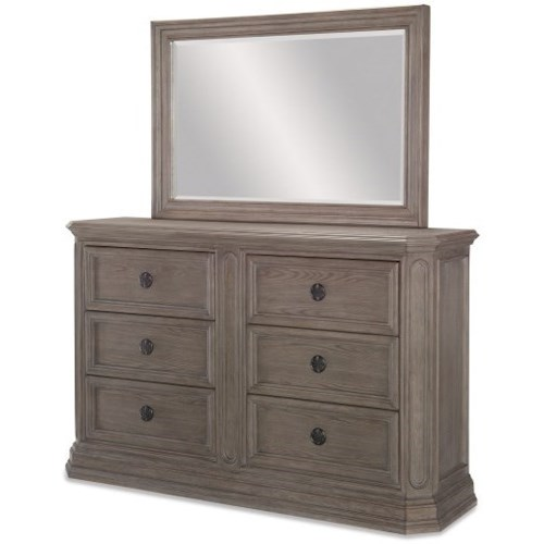 Legacy Classic Manor House Relaxed Vintage Six Drawer Dresser and Mirror Set