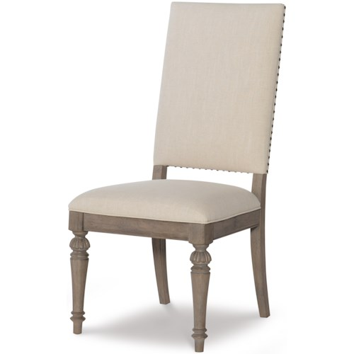Legacy Classic Manor House Relaxed Vintage Upholstered Side Chair with Nailheads