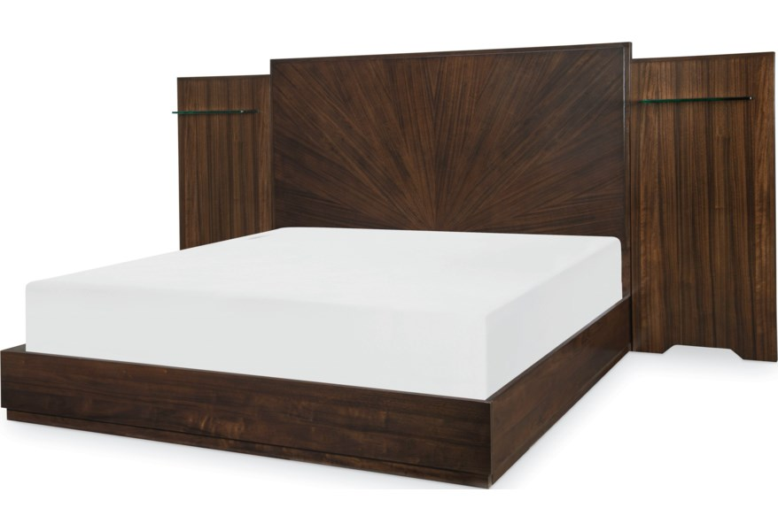 Legacy Classic Paldao Contemporary King Wall Panel Bed With Floating Shelves Lindy S Furniture Company Platform Beds Low Profile Beds
