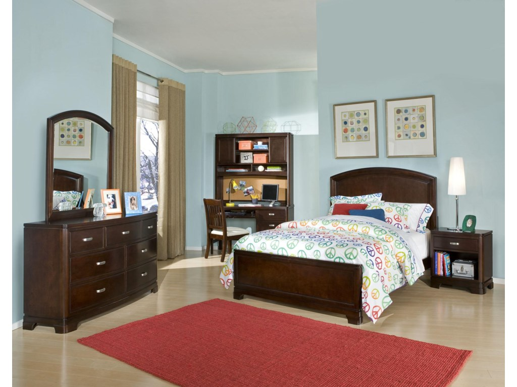 Shown in Room Setting with Panel Bed, 7-Drawer Dresser with Arched Mirror and Nighstand