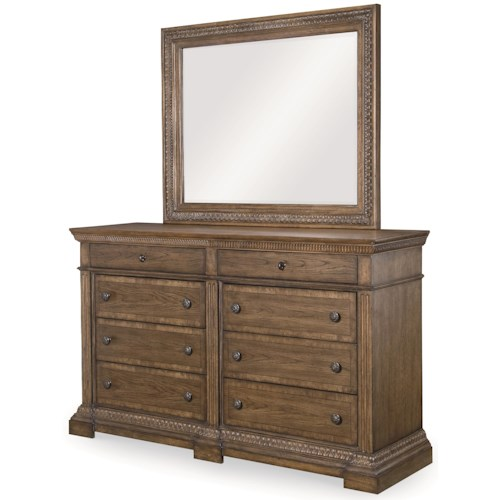 Legacy Classic Renaissance 8 Drawer Dresser and Beveled Mirror Combo