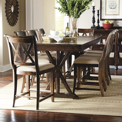 Legacy Classic Thatcher 9 Piece Pub Dining Set with X-Shaped Details