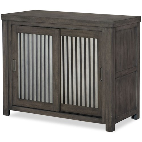 Legacy Classic Kids Bunkhouse Rustic Casual Sliding Door Chest with Corrugated Metal Doors