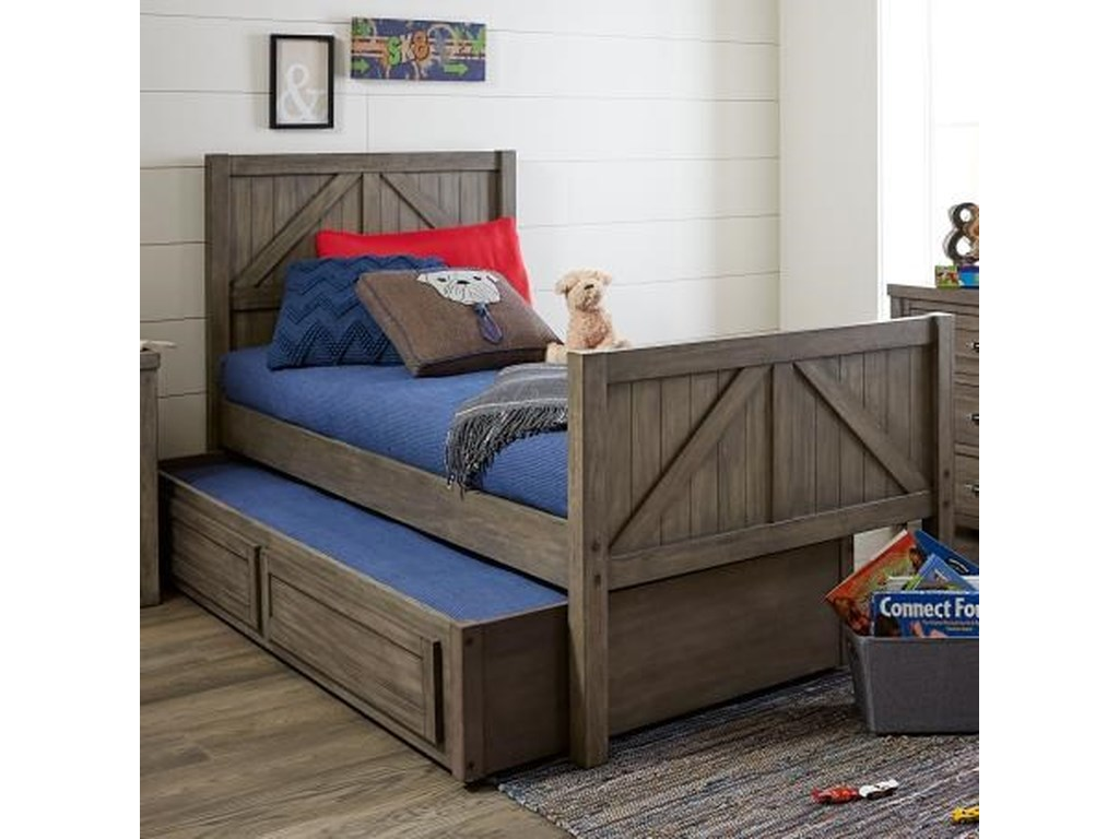 Legacy Classic Kids BunkhouseTwin Panel Bed with Trundle Storage Drawer