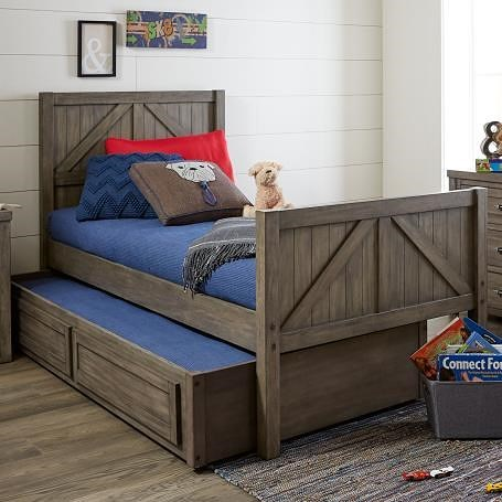 Legacy Classic Kids Bunkhouse Rustic Casual Twin Panel Bed with Trundle Storage Drawer