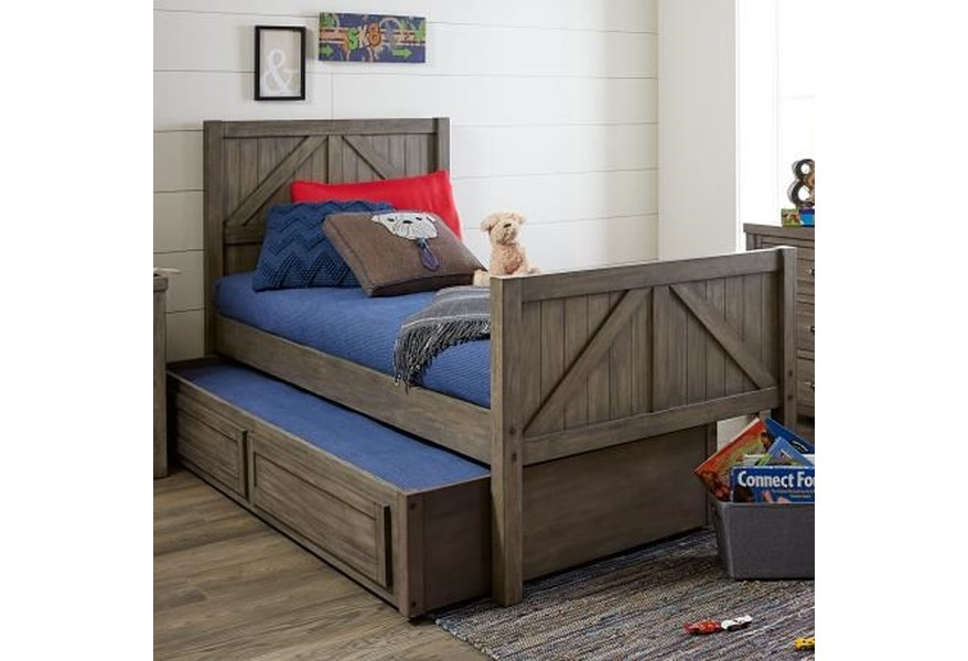 Legacy Classic Kids Bunkhouse Rustic Casual Twin Panel Bed With Trundle Storage Drawer Fashion Furniture Panel Beds