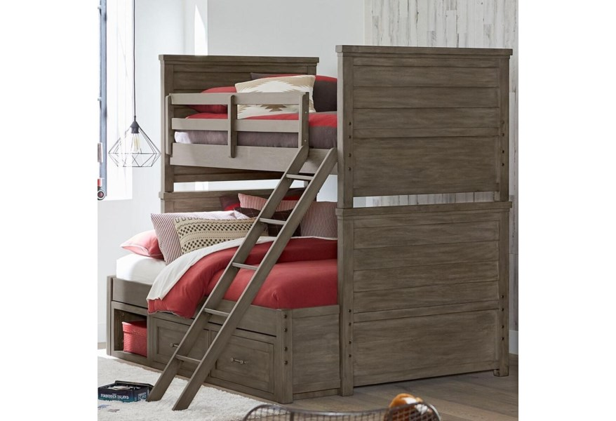 Legacy Classic Kids Bunkhouse 8830 8140k 9300 Rustic Casual Twin Over Full Bunk Bed With Underbed Storage Unit Hudson S Furniture Bunk Beds