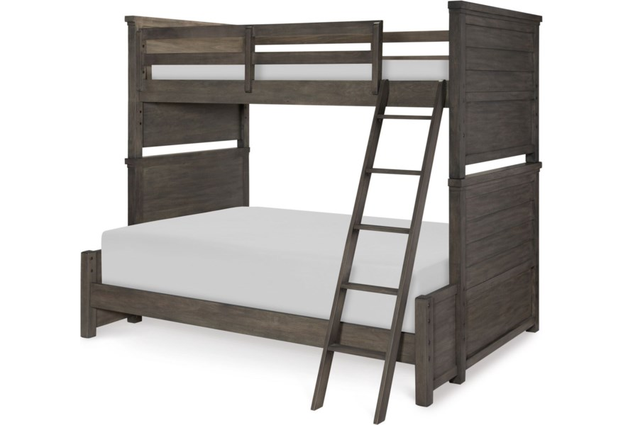 Bungalow Rustic Casual Twin Over Full Bunk Bed With Ladder And Guard Rail Morris Home Bunk Beds