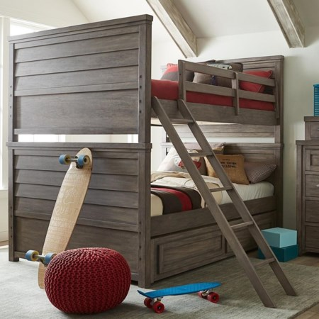 Full over Full Bunk Bed with Trundle Storage