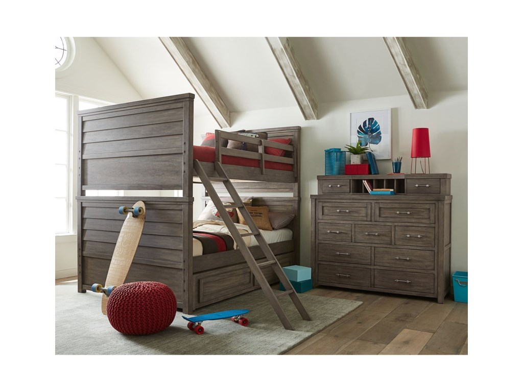 Legacy Classic Kids BunkhouseFull over Full Bunk Bed with Trundle Storage